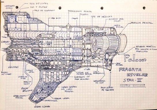 "Boceto de La Falcon creada por Rafael Diaz Gaztelo autor de ""Exomundos"""